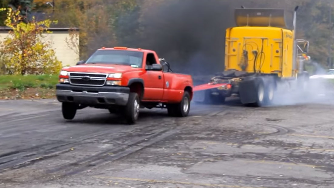 Chevy Duramax Drags a Semi Truck in Epic T.O.W. Battle! | Muscle ...