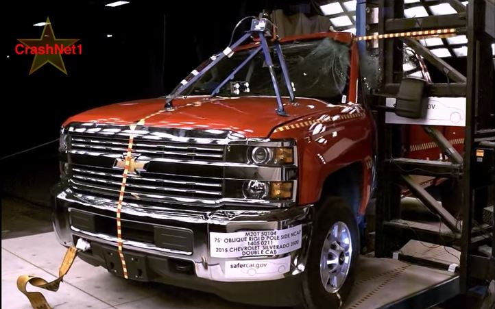 Pole Crash Test 2015 Chevy Silverado  GMC Sierra 2500HD