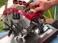 Mini CNC 4-axis and Miniature Chevrolet V8