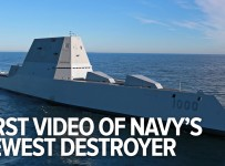 First video of the US Navy's New Star Wars-ish Destroyer at sea