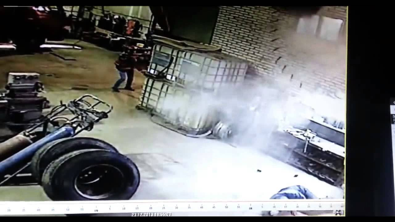 Mechanic Thrown in Air as Overinflated Truck Tire EXPLODES!