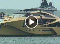 New $48,000,000 golden yacht launched in Sturgeon Bay, mega baller alert!
