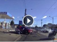 Dash-Cam Captures Insane Wreck Between A Car & Two Motorbikes! Yikes!