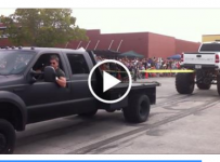 Ford 550 Pulls Chevy Monster Truck Backwards!