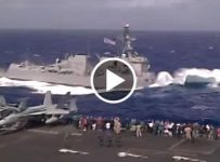 MILITARY SHIP DOES HUGE NOSE DIVE !