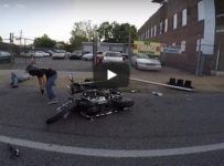 Harley Rider Crashes Into Light Pole!