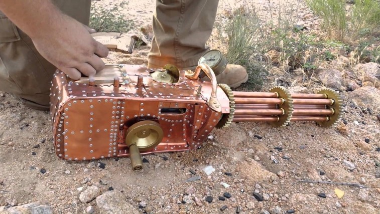 FULLY Functional Badass .22 Caliber Steampunk Gatling Gun!